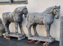 Two Massive Chinese Carved Stone Horses