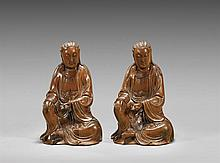 PAIR CARVED BOXWOOD FIGURES