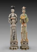 PAIR TALL MING DYNASTY POTTERY FIGURES