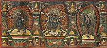 SINO-TIBETAN PAINTED LEATHER THANGKA