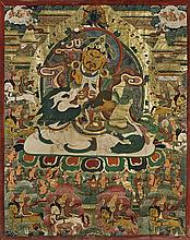 LARGE SINO-TIBETAN PAINTED THANGKA