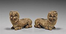 PAIR ANTIQUE INDIAN TEMPLE LIONS
