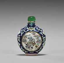ANTIQUE ENAMELED PORCELAIN SNUFF BOTTLE