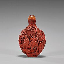 ANTIQUE CINNABAR LACQUER SNUFF BOTTLE