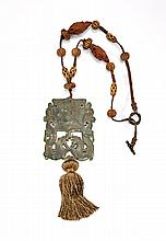ARCHAISTIC JADE PLAQUE ON SEED & BONE NECKLACE