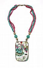 RHODONITE, TURQUOISE & PORCELAIN NECKLACE