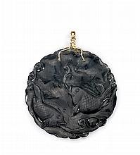 CARVED BLACK JADE PENDANT