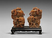 PAIR CARVED SOAPSTONE