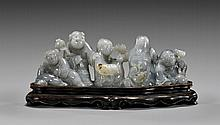CARVED GRAY JADE FIGURAL GROUP