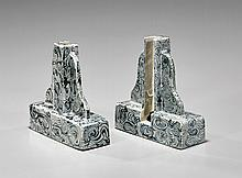 PAIR MING DYNASTY BLUE & WHITE STANDS