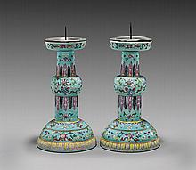 PAIR ANTIQUE FAMILLE ROSE CANDLESTICK HOLDERS