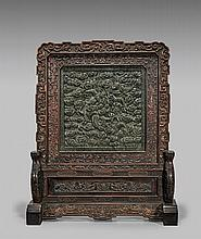 LARGE SPINACH JADE TABLESCREEN