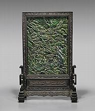 CARVED SPINACH JADE TABLESCREEN