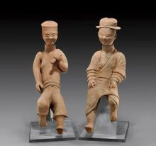 PAIR HAN DYNASTY EROTIC POTTERY FIGURES