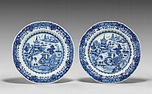 PAIR ANTIQUE EXPORT BLUE & WHITE DISHES