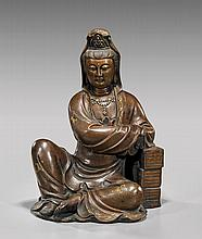 MING-STYLE BRONZE SEATED GUANYIN