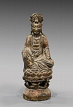 ANTIQUE CARVED WOOD GUANYIN