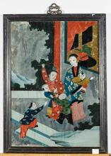 Pair Chinese Reverse Glass Paintings