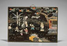 Antique Chinese Inlaid Figural Panel