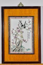 Two Chinese Enameled Porcelain Tiles: Birds