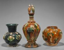 Three Tang-Style Sancai Glazed Vases