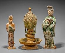Three Chinese Sancai Glazed Potteries