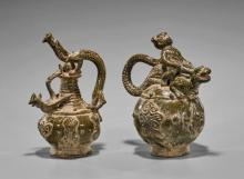 Pair Early-Style Pottery Ewers