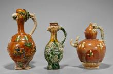 Three Chinese Sancai Pottery Ewers