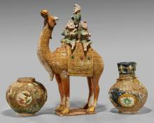 Three Sancai & Gilt Potteries: Vases & Camel