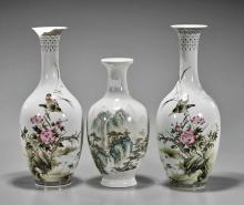 Three Famille Rose Porcelain Vases