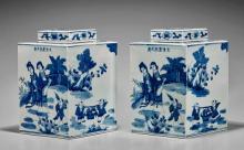 Pair Kangxi-Style Porcelain Lozenge Vases