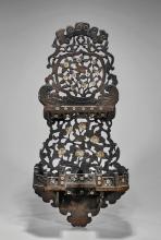 Antique Chinese Wood & Inlaid Shelf