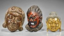 Three Asian Masks: Wood & Lacquer