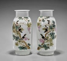 Pair Chinese Famille Rose Bird Vases