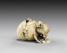 ANTIQUE CARVED IVORY NETSUKE: Two Chicks