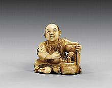 ANTIQUE INLAID IVORY NETSUKE: Figure Smoking