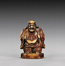 ANTIQUE CARVED IVORY NETSUKE/SEAL: Deity