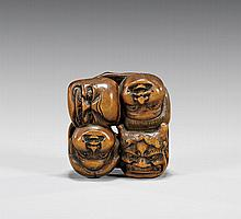 ANTIQUE CARVED WOOD NETSUKE: Mask Group