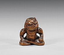 ANTIQUE CARVED IVORY NETSUKE: Oni