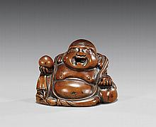 ANTIQUE WOOD NETSUKE: Hotei
