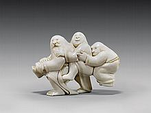 CARVED IVORY NETSUKE BY DAVID CARLIN