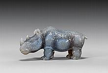 MINIATURE CARVED AGATE RHINOCEROS