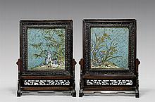 PAIR ANTIQUE CLOISONNÉ TABLESCREENS