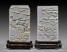 PAIR CARVED JADEITE TABLESCREENS