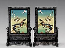 PAIR APPLIQUÉ HARDWOOD TABLESCREENS