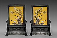PAIR OF APPLIQUÉ HARDSTONE TABLESCREENS