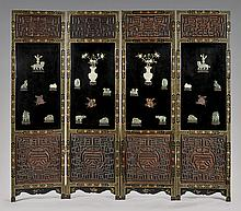 FOUR-PANEL APPLIQUÉ LACQUER SCREEN