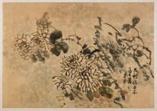 Three Korean Paper Paintings: Flowers & Bird