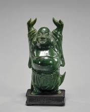 Carved Spinach Jade Standing Budai