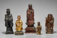 Five Antique Asian Carved Wood Figures